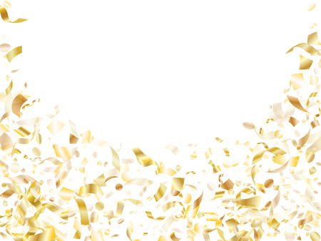 Gold glowing confetti flying on white holiday vector backdrop. Trendy flying sparkle elements, gold foil texture serpentine streamers confetti falling christmas background.