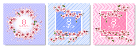 8 March Happy Women's Day vector cards set. Japanese cherry blossom branches, pink sakura flowers frames. Elegant cards with sakura branch tree flowers bloom. March 8th international womens day design