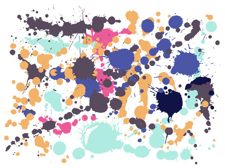 Watercolor paint stains grunge background vector. Decorative ink splatter, spray blots, dirty spot elements, wall graffiti. Watercolor paint splashes pattern, smear liquid stains splatter background. Illustration