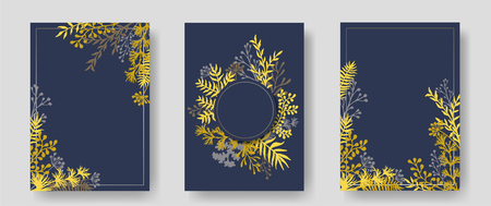 Vector invitation cards with herbal twigs and branches wreath and corners border frames. Rustic vintage bouquets with fern fronds, mistletoe twigs, willow, palm branches in gold grey.