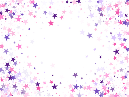 Flying stars confetti holiday vector in pink violet purple on white. Geometric starlight banner. Trendy stars explosion background. Fireworks elements confetti.