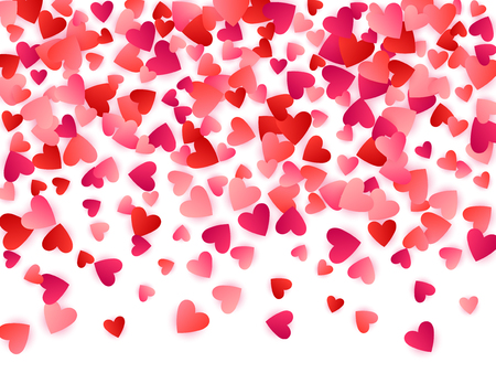 Ruby red flying hearts bright love passion vector background. Amour backdrop. Romantic symbols confetti. Charming flying red hearts scatter for wedding decoration.