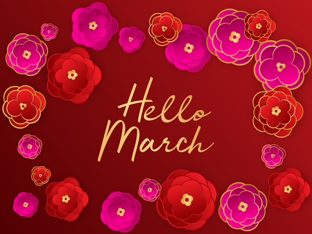Hello march spring banner. Red paper cut abstract flowers background. Greeting to spring vector card, hello march text. Sakura pink red gold gradient abstract flowers bright vector design. 向量圖像