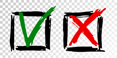 Tick cross vector check marks icons. Done checklist symbols scribble design. Abstract yes and no checkmarks. Poll quiz question labels, vote stickers. Correct right and false wrong test answers.