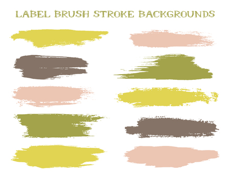 Futuristic label brush stroke backgrounds, paint or ink smudges vector for tags and stamps design. Painted label backgrounds patch. Interior colors scheme samples. Ink smudges, pink green spots.