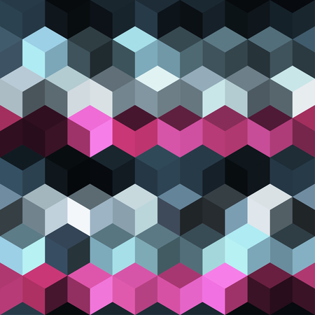 Hexagon grid seamless vector background. Minimal polygons with bauhaus corners geometric graphic design. Trendy colors hexagon cells pattern for flyer or cover. Honeycomb cube shapes mosaic.