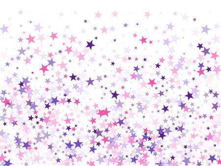 Flying stars confetti holiday vector in pink violet purple on white. Fireworks sparkles festival symbols. Cute cartoon stars holiday vector. Christmas banner decoration.