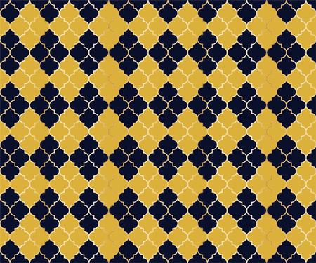 Moroccan Mosque Vector Seamless Pattern. Argyle rhombus muslim textile background. Traditional ramadan pattern with gold grid. Stylish islamic argyle seamless design of lantern lattice shape tiles.