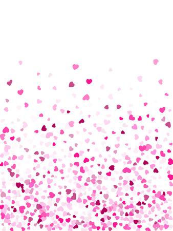 Crimson hearts confetti frame border invitation card vector background. Fascinating falling hearts scatter illustration. Love concert holiday banner graphic design. Ilustração
