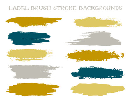 Scribble label brush stroke backgrounds, paint or ink smudges vector for tags and stamps design. Painted label backgrounds patch. Interior paint color palette elements. Ink smudges, stains, grey spots Illustration