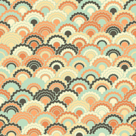 Helle Meerjungfrau skaliert Squama-Hintergrund, nahtloses Stoffmuster des Vektors, gekachelter Textildruck. Vintage japanische Squama skaliert nahtlose Bogenfliesen Textur. Fischhautmuster. Vektorgrafik