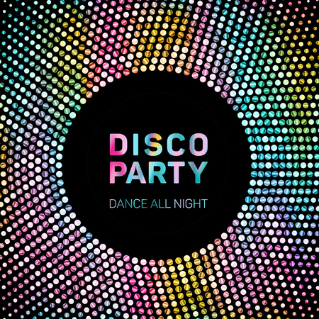 Disco lights rainbow geometric neon glowing grid frame. Disco party dance all night poster. Rainbow neon lights grid frame for music party poster or banner. Geometric halftone glowing texture.