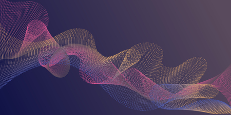 Background curved lines intersection shapes. Scientific researches dynamic curves web trendy background. Fluid curl lines ripple texture design. Contemporary vector graphics with bent waves.