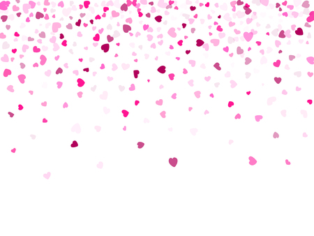 Pink hearts confetti Valentines Day vector background. Abstract falling hearts isolated graphic design.