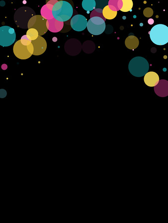Memphis round confetti retro background in cayn, magenta and yellow on black.  Childish pattern vector, kid's party birthday celebration background.  Holiday confetti circles in memphis style.