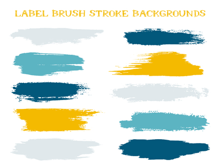 Futuristic label brush stroke backgrounds, paint or ink smudges vector for tags and stamps design. Painted label backgrounds patch. Interior paint color palette swatches. Ink blue orange stains, spots