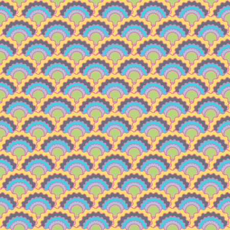 Trendy mermaid scales squama background, vector seamless fabric pattern, tiled textile print. Vintage chinese squama scales seamless arc tiles background. Wrapping paper pattern. Ilustração