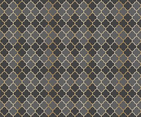 Arabian Mosque Vector Seamless Pattern. Argyle rhombus muslim fabric background. Traditional ramadan pattern with gold grid. Trendy islamic argyle seamless design of lantern lattice shape tiles. 向量圖像