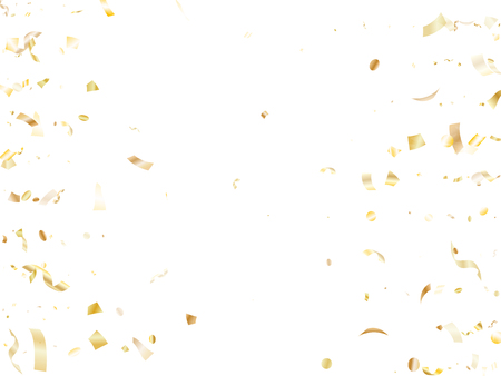 Gold glowing realistic confetti flying on white holiday vector design. Chic flying sparkle elements, gold foil texture serpentine streamers confetti falling party background.