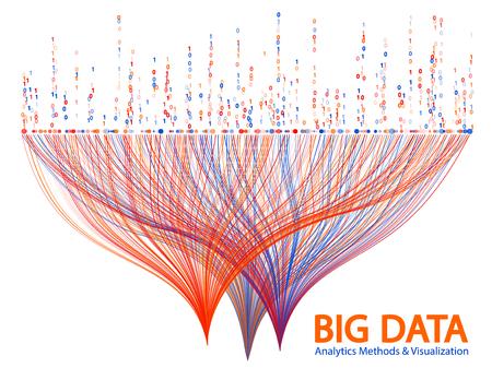 Big data statistical analysis visualization concept vector design. and 1 binary code data visualization. Digital analytics statistical information of big number curves visual matrix. Vektorgrafik