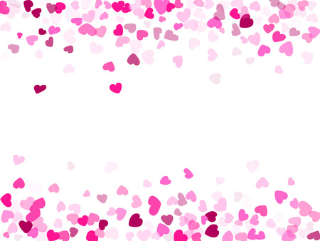 Rose color hearts confetti frame border wedding event vector background. Sweetly flying hearts shapes illustration. Love concert party graphic design.