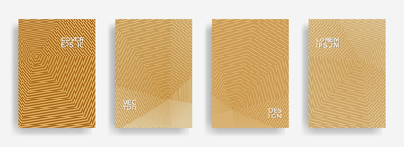 Technical annual report design vector collection. Gradient grid texture cover page layout templates set. Report covers geometric design, business brochure pages corporate backgrounds.