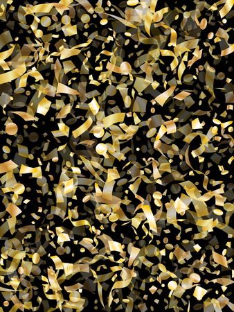 Gold glitter confetti flying on black holiday vector illustration. Glamourous flying sparkle elements, gold foil texture serpentine streamers confetti falling festive vector.