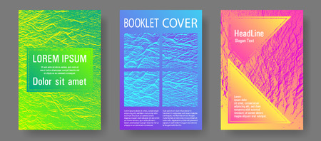 Booklet design vector layouts set. Pink blue green rainbow waves textures. Tect newsletter cover templates. Cool booklet vector cover templates design. Buzzing flux ripple movement background.