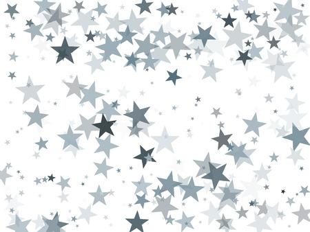 Silver glitter falling stars vector template for birthday party, wedding invitation card, flyer, voucher, web header.  Silver sparkle stars confetti glitter on white. Illustration