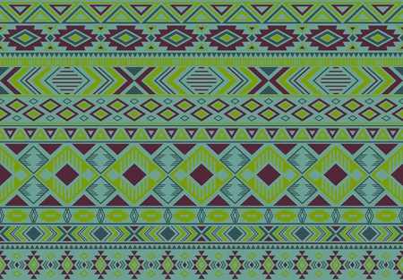 Ikat pattern tribal ethnic motifs geometric seamless vector background. Abstract indonesian tribal motifs clothing fabric textile print traditional design with triangle and rhombus shapes.