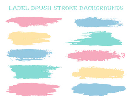 Minimal label brush stroke backgrounds, paint or ink smudges vector for tags and stamps design. Painted label backgrounds patch. Color combinations catalog elements. Ink dabs, pastel splashes.
