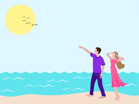 Young man showing to girl birds in the sky. Romantic couple walking on the beach. Man and woman on the walk looking up in sky. Boy and girl in casual clothуі: purple female dress, violet male t-shirt