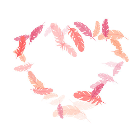 Decorative pink flamingo feathers vector background. Angel wing plumage concept. Decoration confetti of carnival plumelet. Detailed majestic feather on white design. Ilustração