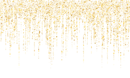 Square confetti gold garlands vector illustration on white. Elegant hanging garlands made of square sparkles gold confetti flying on white background. New Year party holiday decoration. Ilustração