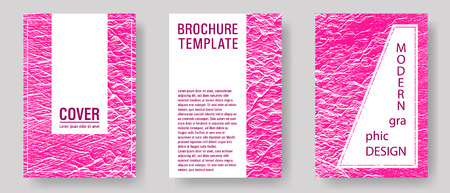 Brochure layout design templates. Plastic pink color waves textures. Creative publication cover pages. Business brochure vector cover layouts set. Fluid buzzing wavy noise ripple texture.