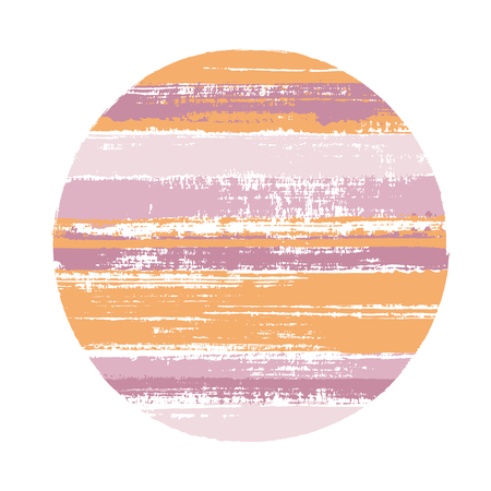 Hipster circle vector geometric shape with stripes texture of ink horizontal lines. Disk banner with old paint texture. Label round shape logotype circle with grunge stripes background.