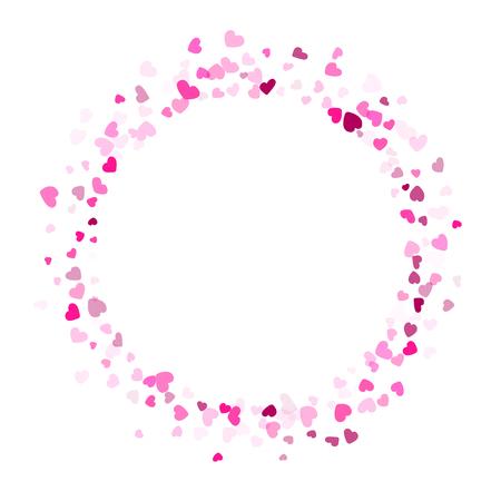 Pink crimson hearts confetti frame border invitation card vector background. Marvellous falling hearts isolated graphic design.