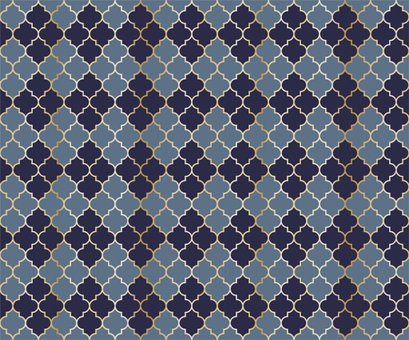 Arabic Mosque Vector Seamless Pattern. Argyle rhombus muslim textile background. Traditional ramadan pattern with gold grid. Rich islamic argyle seamless design of lantern lattice shape tiles. 向量圖像