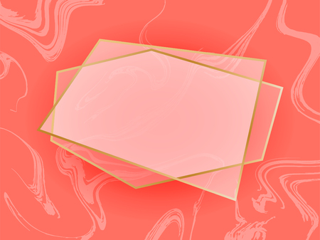 Gold geometric frames on coral color marble background. Decorative coral pink gold elements for branding, card, invitation. Luxury, art deco style for wedding invitation.