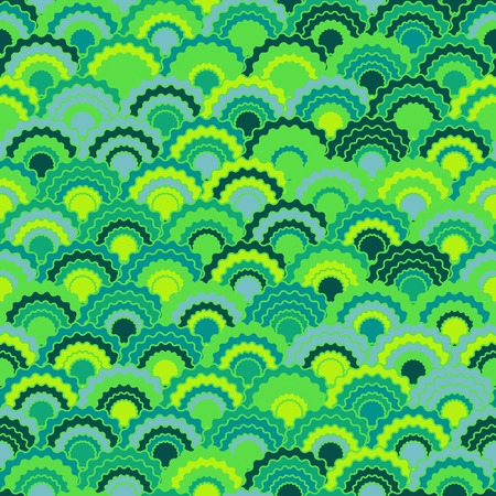 Fantasy fish scales squama background, vector seamless fabric pattern, tiled textile print. Typical chinese squama scales seamless arc tiles background. Fabric print pattern.