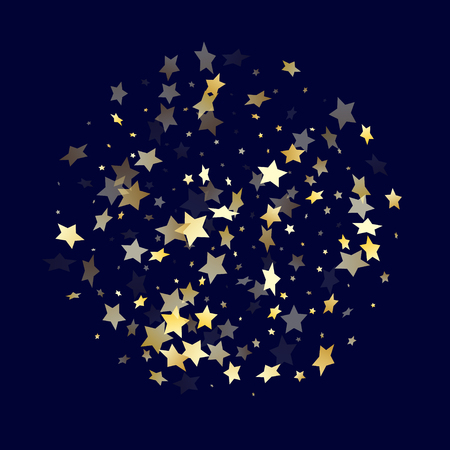 Gold falling star sparkle elements of glitter gradient vector background. Trendy confetti gold stars falling glitter gradient sparkles on dark blue. Christmas starburst flying backdrop. Ilustrace