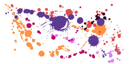 Gouache paint stains grunge background vector. Messy ink splatter, spray blots, dirt spot elements, wall graffiti. Watercolor paint splashes pattern, smear liquid stains spots backdrop. Ilustrace