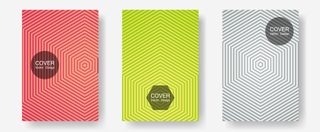 Halftone flat patterns abstract vector set. Hipster placards. Halftone lines annual report templates. Balanced posh mockups. Geometric covers of lines gradient flat patterns. Illustration