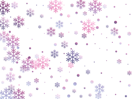 Crystal snowflake and circle elements vector design. Magic winter snow confetti scatter card background. Flying gradient snow flakes background, frosty water crystals confetti.