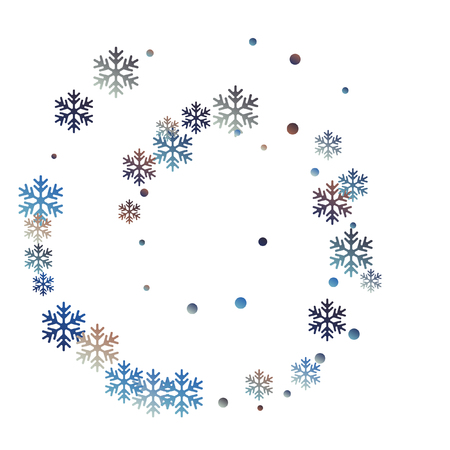 Crystal snowflake and circle elements vector graphics. Windy winter snow confetti scatter poster background. Flying gradient snow flakes background, awesome water crystals confetti.