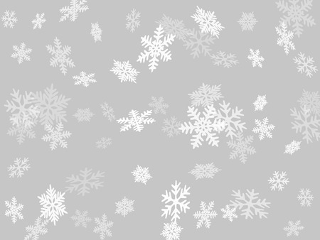 Snow flakes falling macro vector illustration, christmas snowflakes confetti falling scatter backdrop. Winter snow shapes decor. Windy flakes falling and flying winter clear vector background.