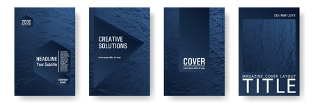 Flyer poster vector graphic design set. Dark blue and black waves texture. Fluid buzzing wavy noise ripple texture. Modern poster, cover or flyer templates. Research development plan covers.
