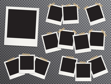 Blank photo frames set hanging on adhesive tape vector realistic illustration. EPS10 mockups. Retro photo frame templates. Glued with duct tape vintage instant photoframes with blank pictures place.