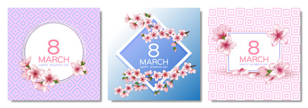 8 March Happy Womens Day vector cards set. Japanese cherry blossom branches, pink sakura flowers frames. Elegant cards with sakura branch tree flowers bloom. March 8th international womens day design