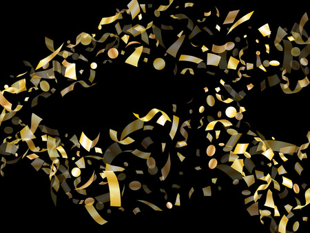 Gold glowing confetti flying on black holiday vector graphics. VIP flying tinsel elements, gold foil texture serpentine streamers confetti falling xmas vector.